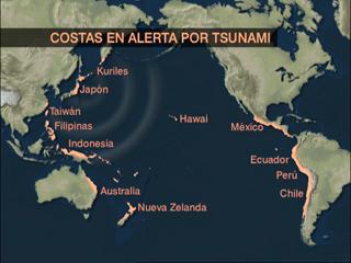 Ver v?deo  'Tras el seísmo de Japón se ha declarado la alerta de tsunami en una veintena de países de tres continentes'