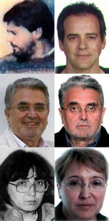 Antes y después de los tres GRAPO detenidos por el secuestro de Publio Cordón, de arriba abajo: Vicente Sarasa, José Antonio Ramón Teijelo y Manuel Ontanilla.