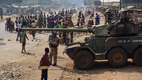 Tropas francesas en Bangui, capital de la República Centroafricana, el 16 de enero