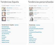 Esta es la diferencia entre los 'treding topics' (tendencias) globales y los personalizados para un usuario en concreto.
