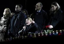 Ukrainian opposition leader Tymoshenko addresses anti-government protesters gathered in the Independence Square in Kiev