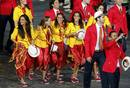 Members of Spain's contingent take part in the athletes parade during the opening ceremony of the London 2012 Olympic Games at the Olympic Stadium