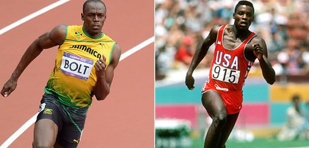 Usain Bolt y Carl Lewis, dos leyendas de la velocidad.