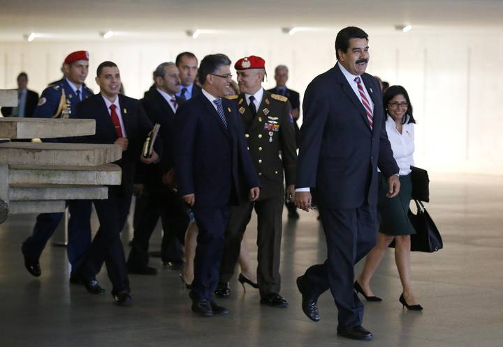 Venezuela's Maduro leaves the Itamaraty Palace after the 6th BRICS summit and the Union of South American Nations (UNASUR), in Brasilia