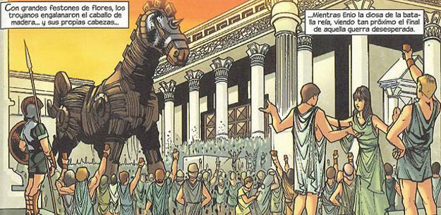 Viñeta de 'La guerra de Troya', de Roy Thomas y Miguel Sepúlveda