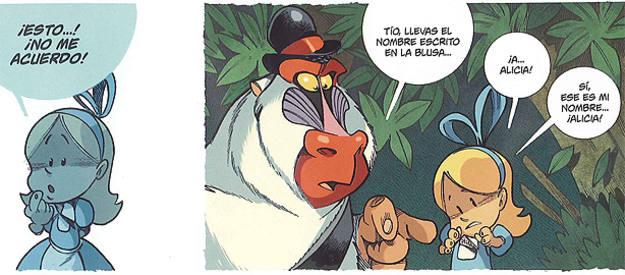 Viñetas de 'Alicia en el país de los monos', de Tebo y Keramidas