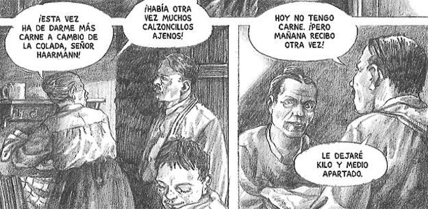 Viñetas de 'Haarmann, el carnicero de Hannover', un asesino en serie, de Peer Meter & Isabel Kreitz