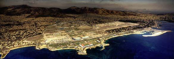 Vista aérea del antiguo aeropuerto Hellinikon de Atenas