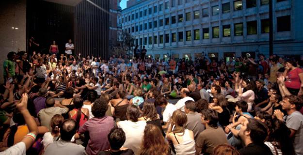 Vista de la Asamblea que se se ha celebrado la tarde del domingo (21/08/11) en la Puerta del Sol con motivo de la JMJ