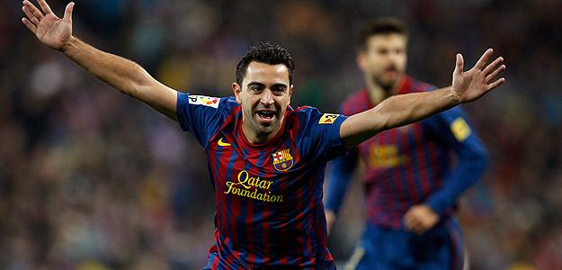 Xavi celebra el segundo tanto azulgrana.