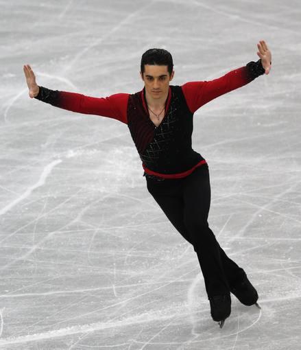 El patinador español Javier Fernández, durante su actuación en el programa corto